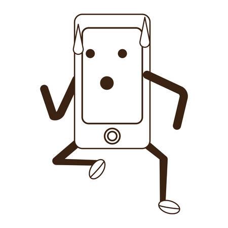 smartphone kawaii courir icône sur fond blanc illustration vectorielle