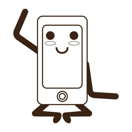smartphone heureux icône kawaii sur fond blanc illustration vectorielle