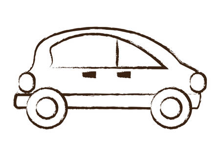 Sketch of small car icon over white background vector illustration