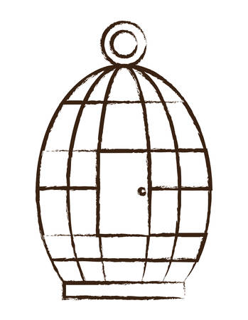 A birdcage icon over white background vector illustration
