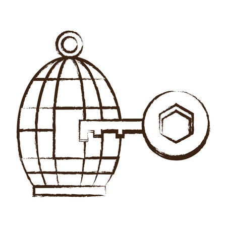 Sketch of birdcage and key icon over white background vector illustration