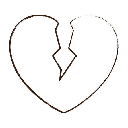 흰색 배경 벡터 일러스트 레이 션을 통해 깨진 된 심장 아이콘 일러스트
