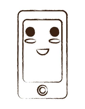 croquis de kawaii icône de smartphone heureux sur fond blanc illustration vectorielle