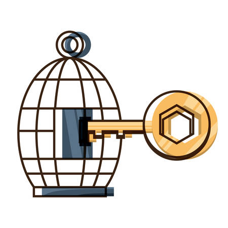 birdcage and key icon over white background colorful design vector illustration Illusztráció
