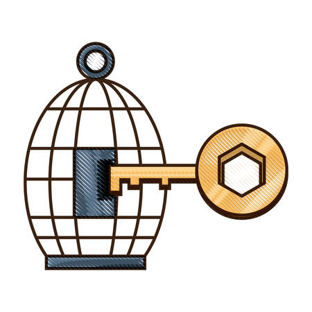 birdcage and key icon over white background colorful design vector illustration Vettoriali