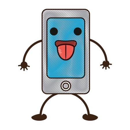 téléphone portable heureux montrant la langue Vecteurs
