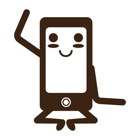 kawaii relaxed smartphone icon over white background vector illustration