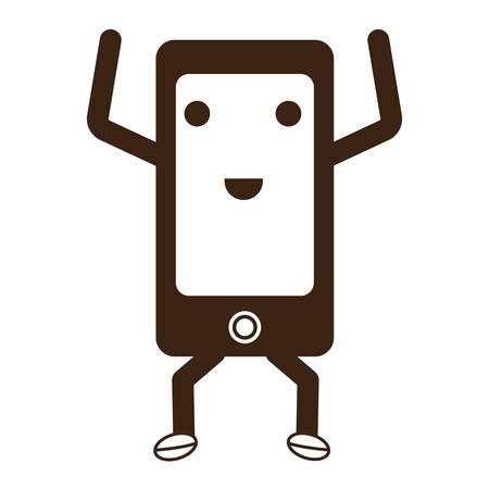 smartphone smartphone excité icône sur fond blanc illustration vectorielle