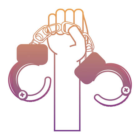 A hand holding a handcuffs icon over white background colorful design vector illustration