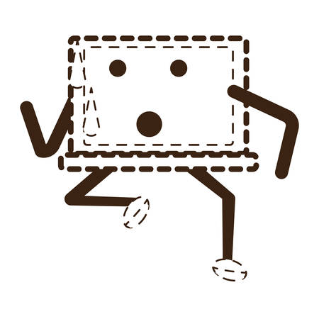 Laptop computer icon with arms and legs and facial expression. Illustration