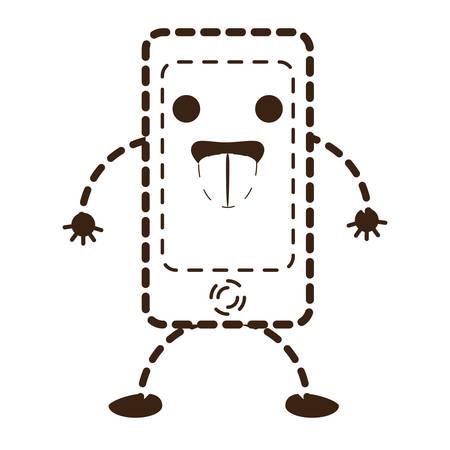 A kawaii smartphone device on plain background