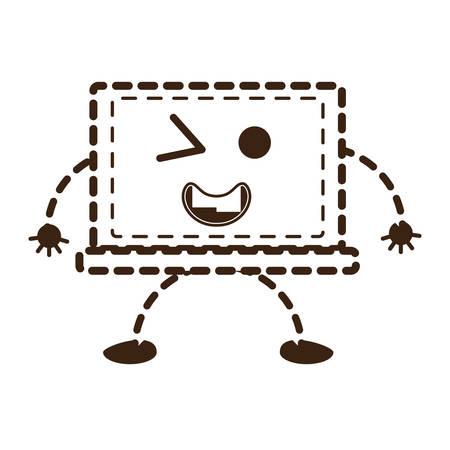 A kawaii laptop computer icon on plain background