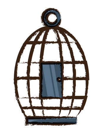 A birdcage icon over white background colorful design vector illustration