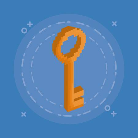 Pixelated key illustration design design on blue