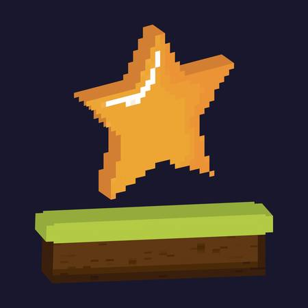 videogame star icon over black background colorful design vector illustration