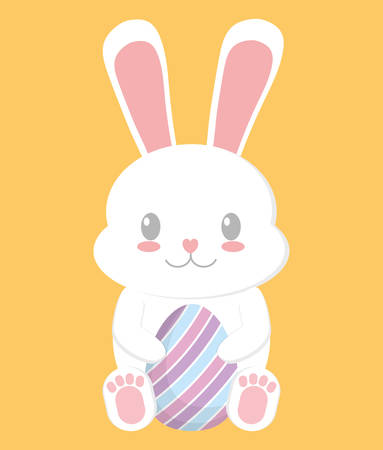 bunny happy easter icon image vector illustration design
