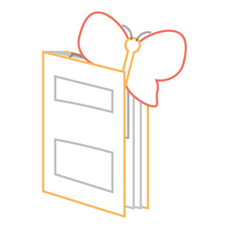 academic book with butterfly icon over white background vector illustration