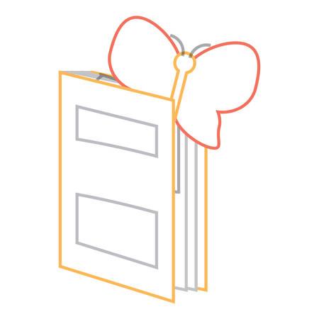 livre académique avec papillon icône sur fond blanc illustration vectorielle