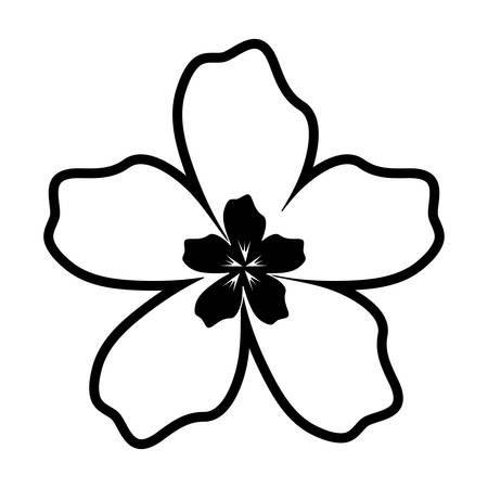 A flat line white flower of five petals with black center vector illustration