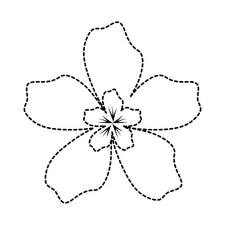 uncolored flower sticker of   five petals with   flower  center   vector illustration Vettoriali