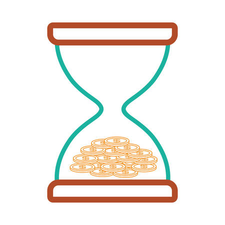 flat line colored  hourglass  with coins over white background  vector illustration  Illustration