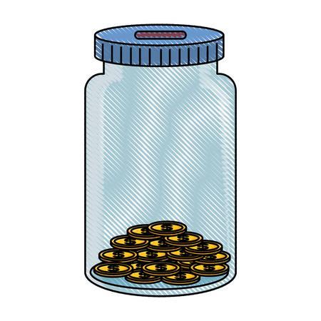 colored  jar coin bank  over white backgroun  vector illustration Illustration