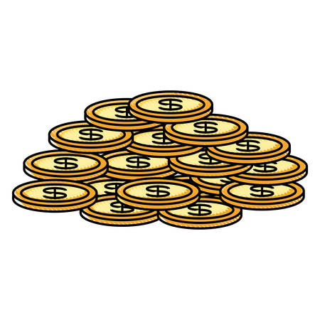 colored  coins  over white background  vector illustration