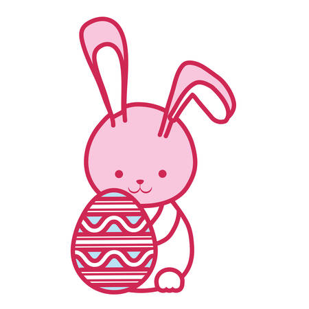 pink shading rabbit with easter egg over white background colorful design vector illustration