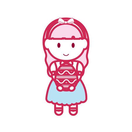 Cartoon girl holding a easter egg over white background colorful design vector illustration. Illustration