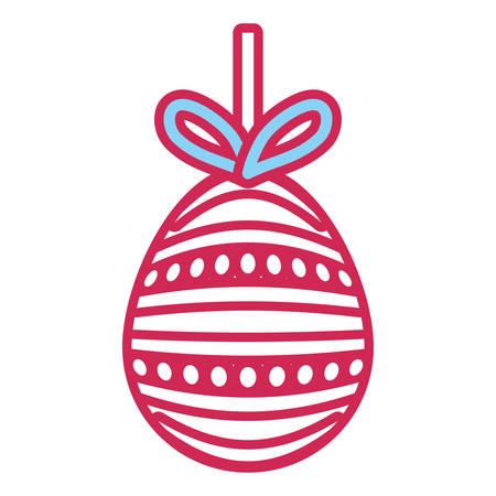 easter egg striped hanging over white background pink shading design vector illustration