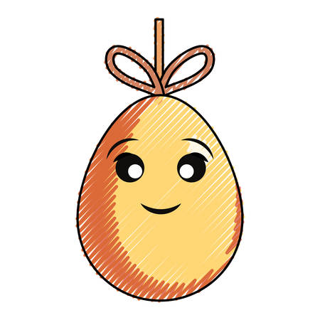 cartoon easter egg hanging over white background colorful design vector illustration