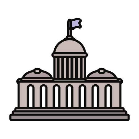 Capitol building icon illustration on white background. Illustration
