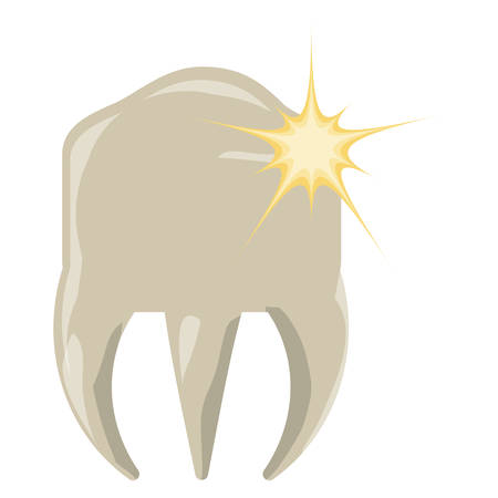 molar with pain icon over white background colorful design  vector illustration