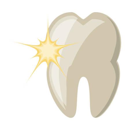dent avec icône de la douleur sur fond blanc design coloré illustration vectorielle