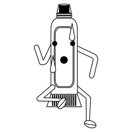 toothpaste running over white background vector illustration