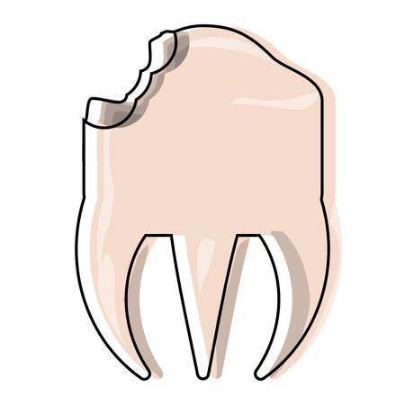 broken molar icon over white background vector illustration