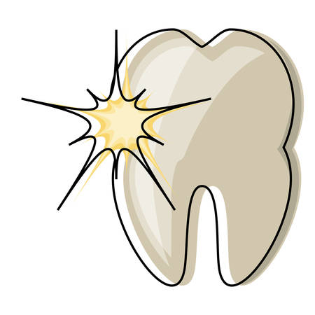 tooth with pain icon over white background colorful design vector illustration