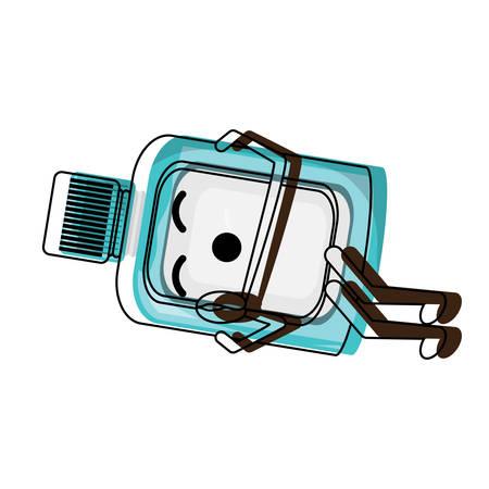 A mouthwash sleeping over white background colorful design vector illustration Illustration