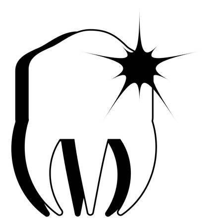 Molar with pain icon over white background vector illustration