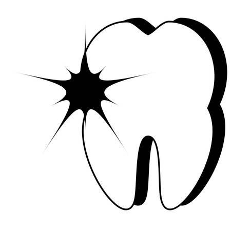 tooth with pain icon over white background vector illustration
