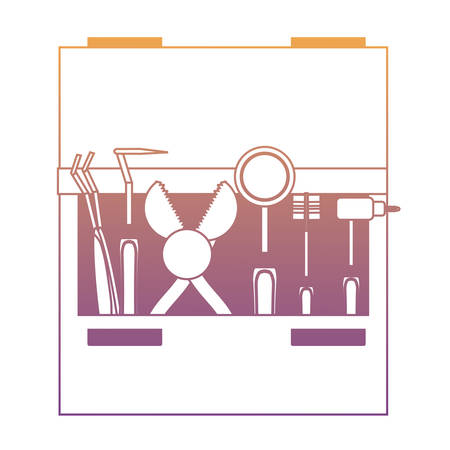 Drawer with dental tools icon over white background colorful design vector illustration Illusztráció