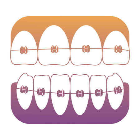 Teeth with brackets icon over white background vector illustration Illustration