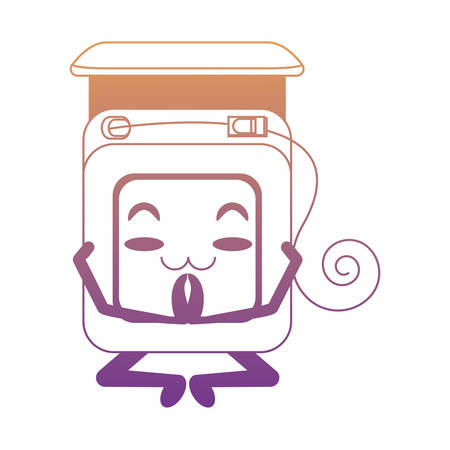 relaxed dental floss doing yoga icon over white background colorful design vector illustration