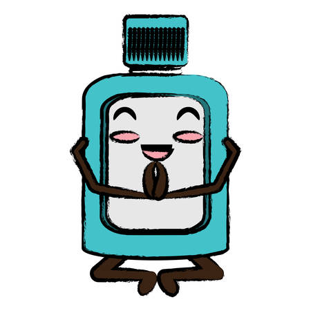 relaxed mouthwash doing yoga icon over white background colorful design vector illustration