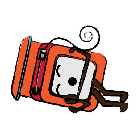 dental floss sleeping icon over white background colorful design vector illustration Illustration