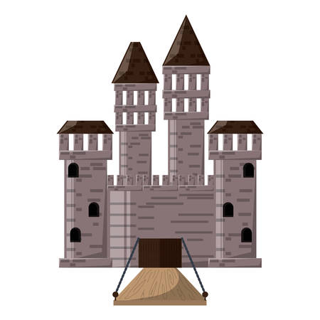 Medieval castle with towers and drawbridge over white background colorful design vector illustration Illustration