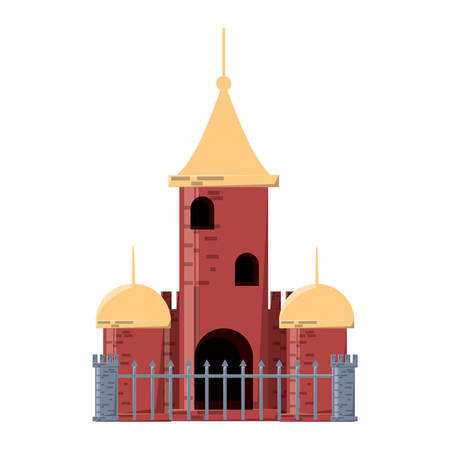 church building with fence over white background colorful design vector illustration Illustration