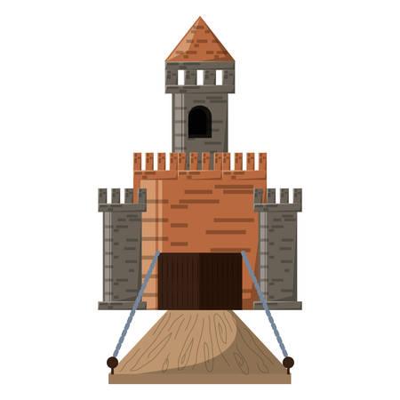 Medieval castle entrance with walls and drawbridge colorful design vector illustration