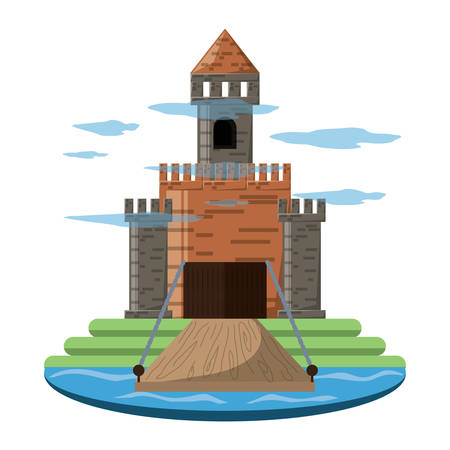 Medieval castle with towers and drawbridge, surrounded by water over white background vector illustration Illustration