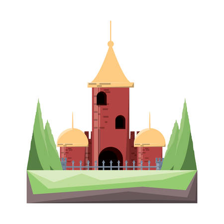 medieval castle with a tower and  pines at the entrance over white background colorful design vector illustration